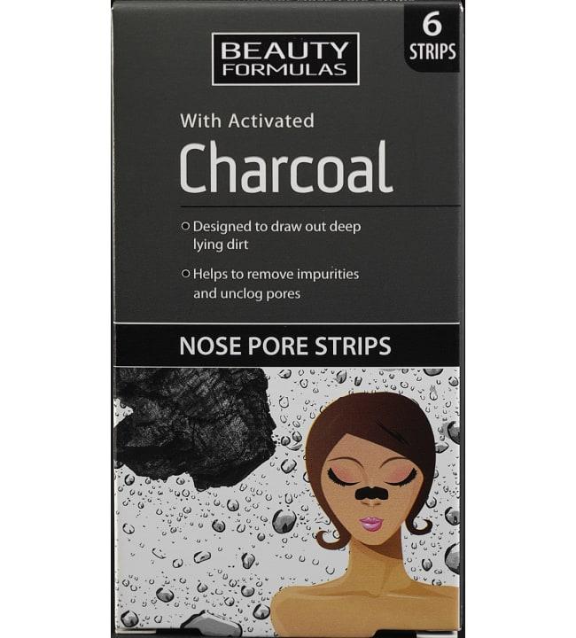 Beauty Formulas Puuhiili 6 kpl nenälaput mustapäille