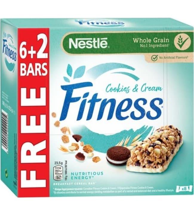 Nestlé Fitness Cookies & Cream 8x23,5g valkosuklainen viljapatukka kaakaokeksin paloilla