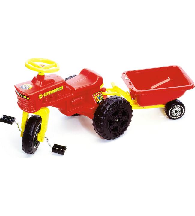 Plasto punainen polkutraktori ja peräkärry