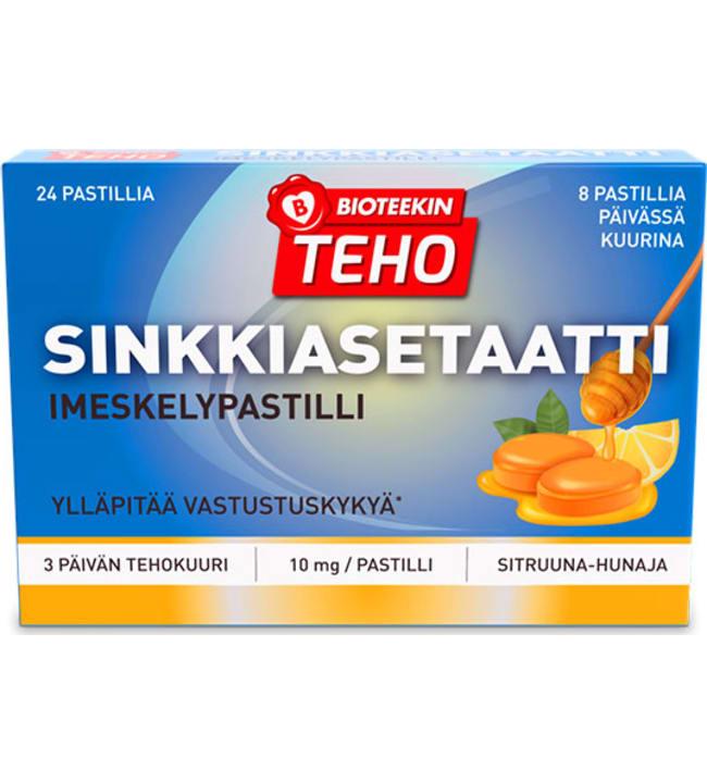 Bioteekin Teho Sinkkiasetaatti Imeskelypastilli 24 kpl ravintolisä