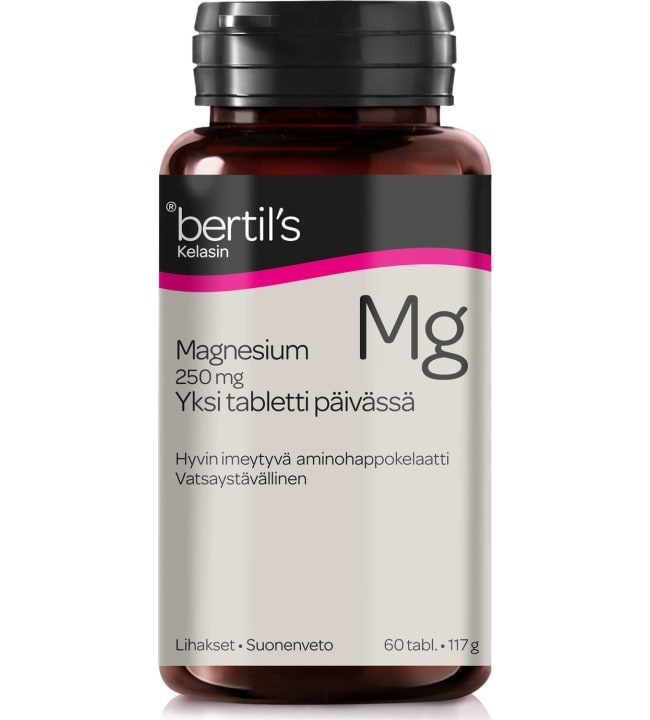 Bertil's Magnesium 250 mg 60 tabl. ravintolisä