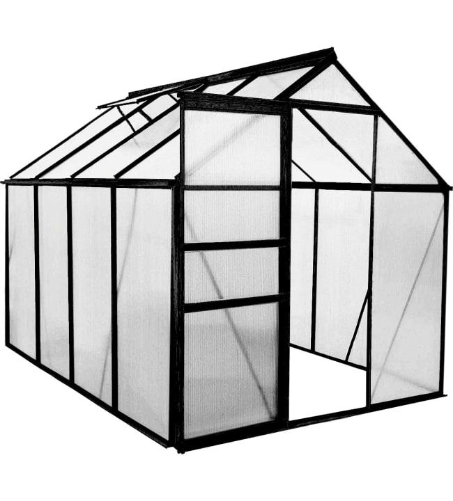 Green Land alumiinirunkoinen  4,8 m² kasvihuone, musta