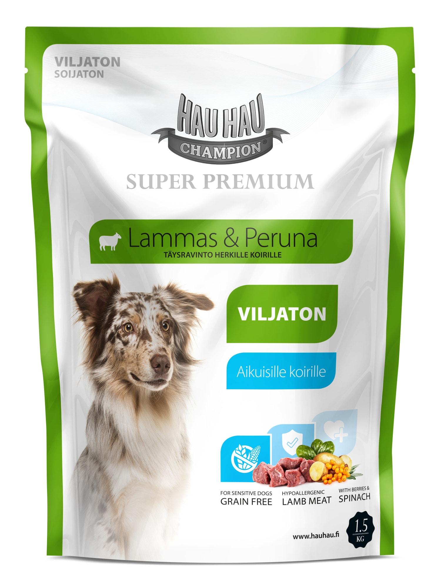 Hau Hau Champion Super Premium Lammas Viljaton Koiran Ruoka Karkkainen Com Verkkokauppa